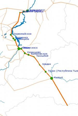 Карта-схема автодороги М-54