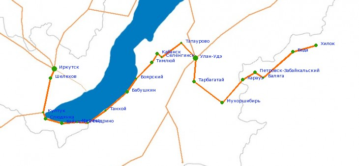 Карта-схема автодороги М-55